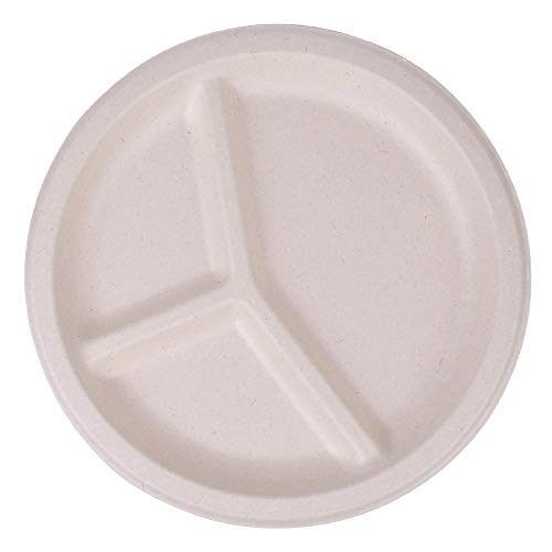 Bamboo biodegradable disposable plates 50 pack