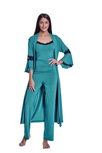 Luisa Moretti 3-teilige Damen Pyjama Set mit Spitze und Morgenmantel aus Bambus-Faser Bamboo Nachthemden Nachtwäsche Grün Medium