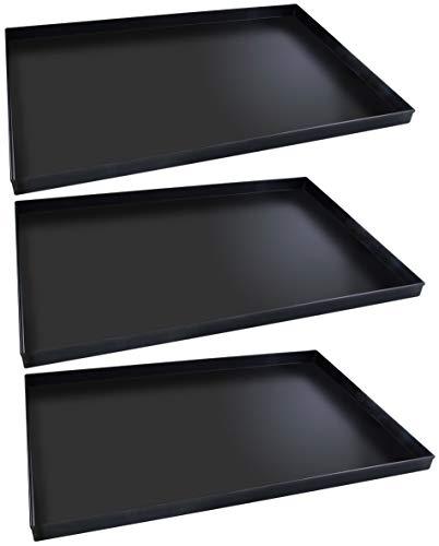 FMprofessional Pizzablech-Set 60x40 cm, eckige from ideal für Pizza, Backblech ist hitzebeständig bis 400°C, rechteckiges Blech aus Blaublech(Farbe: Schwarz), Menge: 1 x 3 Stück