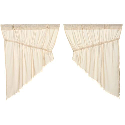 VHC Brands Tobacco Cloth Collection Farmhouse Kitchen100% Cotton Country Window Curtains-Fringed Prairie Swag Pair, 2 pc Set, Natural