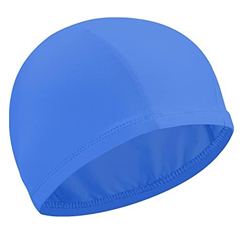 Gorro Elástico de Baño Gorro de Natación Gorro Antideslizante de Piscina Sombrero Flexible de Natación de Nailon para Mujeres Hombres Adultos Jóvenes Baño Natación (Azul Lago)