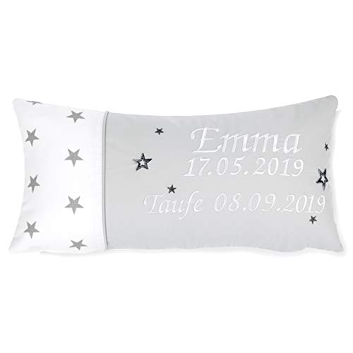Amilian Kissen 40 x 20 cm mit Namen und Datum bestickt Geschenk zur Geburt Taufe zum Namenstag personalisiert fürs Baby inkl. Bezug 100% Baumwolle Muster: Sternchen Weiß Hellgrau
