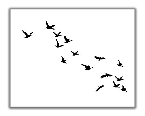 Flying Birds Abstract Wall Art - 11x14 UNFRAMED Print - Minimalist Black & White Bird Silhouette Wall Decor.