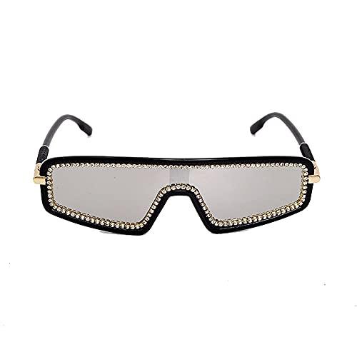 HAOMAO Gafas de sol de diamantes de imitación fotocromáticas de gran tamaño Uv400 para mujer, gafas de cristal artesanales hechas a mano, 2