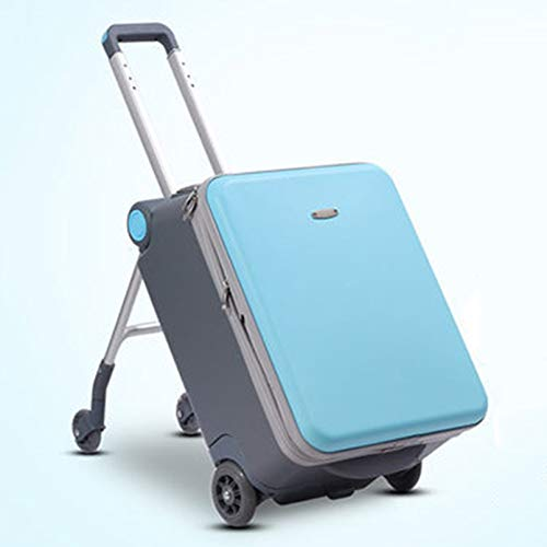 WN-PZF 20in Trolley suitcase, luggage suitcase, children can ride on the travel trolley suitcase can board the plane,Blue,A