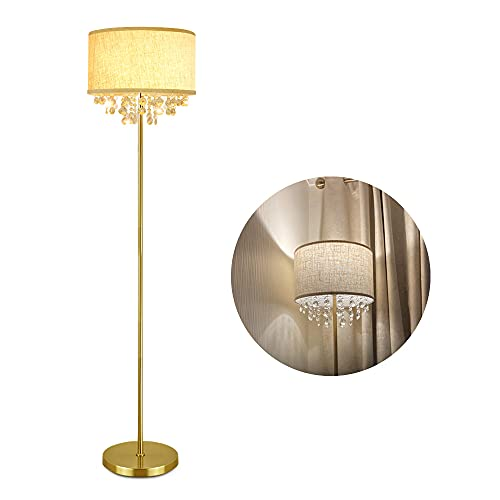 Depuley LED Floor Lamp with Crystal Pendant Beads,Modern Standard Lamps 3000K Warm White Romantic for Living Room,Eye Care Standing Reading lamp,Gold Led Floor Light with E27 Bulb for Bedroom Lounge