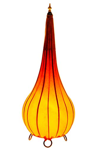 Oosterse staande lamp Roana oranje 50cm lederen lamp hennalampe lamp | Marokkaanse grote staande lampen van metaal, lampenkap van leer | Oosterse decoratie uit Marokko, kleur oranje