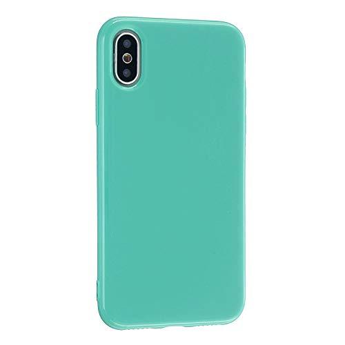 CrazyLemon Hülle für iPhone X iPhone XS, Niedlich Volltonfarbe Gelee Design Weich TPU Silikon Slim Dünn Handyhülle Stoßfest Schutzhülle - Himmel blau
