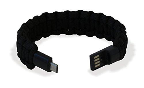 Manhattan Bracciale Paracord con Micro USB Nero