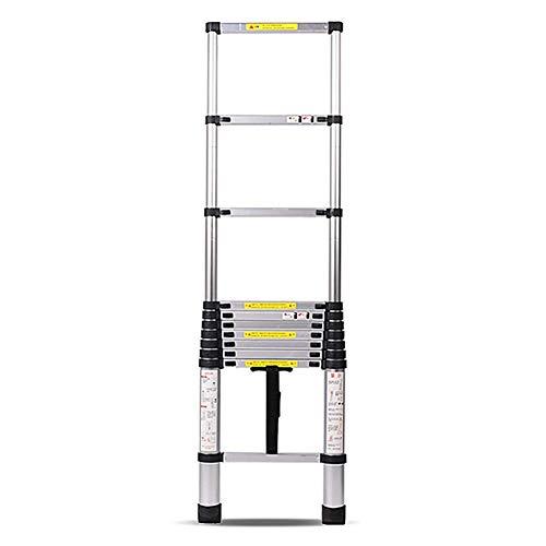GuoEY Escaleras Rectas Telescópicas de Aluminio de 9.5 pies, Escalera de Extensión de Ingeniería Profesional Plegable Portátil de 10 Pasos, Capacidad de 330 LB