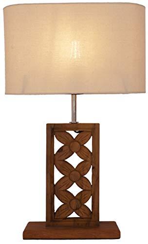 Guru-Shop Tischlampe/Tischleuchte mit Balinesischemn Blumenmotiv Beschnitzt, Teakholz - Modell Mayana, Baumwollstoff, 59x34x15 cm, Tischlampen aus Naturmaterialien