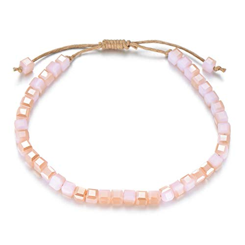 Jewellery Bracelets Bangle For Womens Multicolor Crystal Bracelet Handmade Wax Rope Braiding Charm Bracelets For Women Adjustable Boho Jewelry Gift Pinkchampagnemulti
