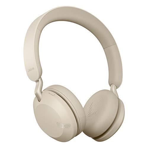 Jabra Elite 45h – Auriculares inalámbricos On-Ear compactos y Plegables – hasta 50 Horas de batería – tecnología de Llamadas a Dos micrófonos – Color Dorado Beige
