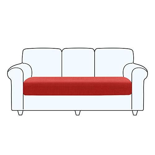 TAOCOCO Fundas de cojín para sofá,Protector de cojín de Asiento de Tela de poliéster de Alta Elasticidad (Rojo, 3 Asientos)