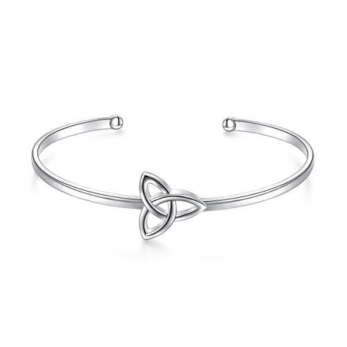 FLYOW Irish Jewelry Cuff Bangle for Women, Sterling Silver Celtic Knot Bracelet Birthday Gift for Wife Girlfriend Best Friend Sister Mom