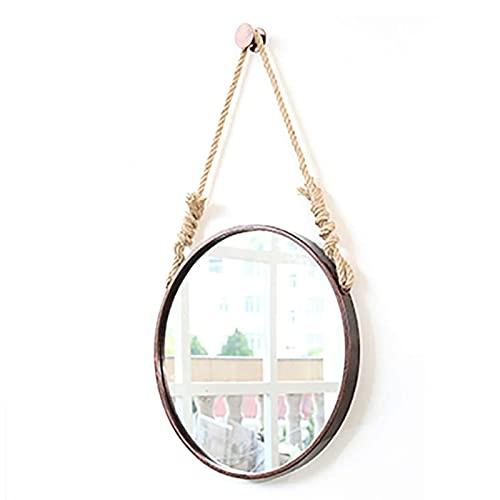 Espejo Decorativo de Pared Redondo con Cuerda de Cáñamo Colgante, Espejo Cosmético para Lavabo de Pared, Espejo Decorativo Vintage de Hierro Forjado