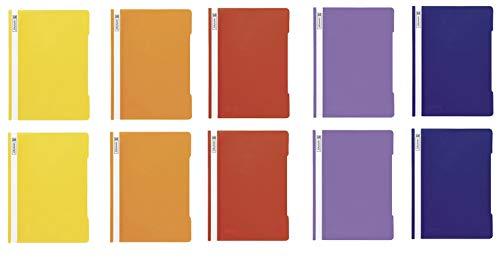 10 Brunnen Schnellhefter A4 farbig sortiert PP-Folie glasklares Deckblatt (Rainbow Edition)