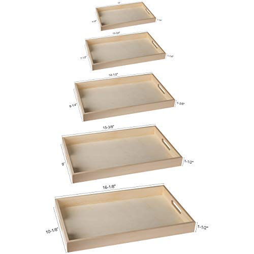 Hammont Unfinished Wood Trays for Crafts | Wooden Serving Tray Five Piece Set of Rectangular Shape with Cut Out Handles | Kitchen Nesting Trays for Serving Pastries, Snacks, Mini Bars, Chocolate