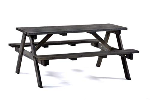 BrackenStyle Dark Grey 6 Seater Picnic Pub Bench Wooden Garden Patio Table Thick Timbers