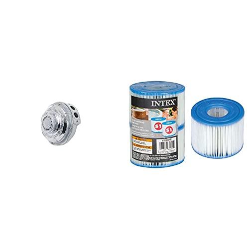 Intex 28504 Lámpara Hidroeléctrica Led Multicolor Para Spa Con Jets + 55000 Pack De 2 Cartuchos Spa Tipo S1, Altura De 7.5 Cm Y Diámetros De 10.8/4 Cm