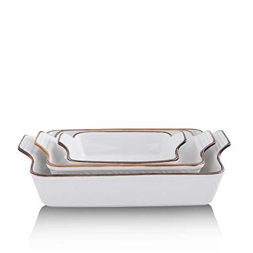KOOV Bakeware Set, Ceramic Baking Dish Set, Rectangular Casserole Dish Set, Lasagna Pans for Cooking, Cake Dinner, Kitchen, 9 x 13 Inches, Texture Series 3-Piece (3 Piece, Pure White)