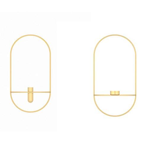 Fransande 2 juegos de candelabros ovalados para colgar en la pared, decoración de pared, decoración tridimensional de metal