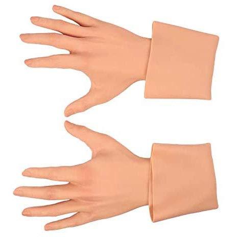 GODLV Silikon Handschuhe Realistische Weibliche Handschuhe Zum Abdecken Von Brandnarben Halloween Weihnachten Ostern Cosplay Männlich Zu Weiblich Für Crossdresser Transgender Shemale,White Skin
