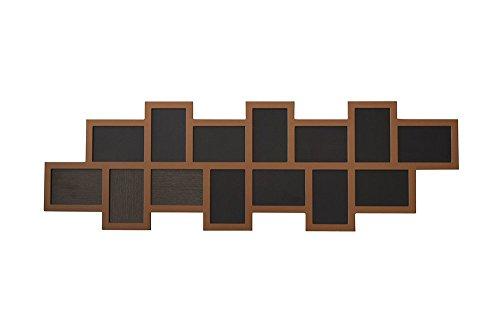Rebecca Mobili Portafoto Multiplo Quadro Cornice Mosaico da Parete 14 Foto Formato 10x15 Legno Marrone Retrò Vintage - 36 x 118 x 1 ,2 cm (H x L x P) - Art. RE4526