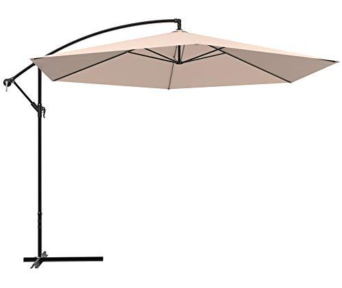 Aoboco Grand Patio 12 FT Offset Umbrella, Outdoor Market Umbrella with Crank, Curvy Aluminum Patio Hanging Umbrella (Champagne)