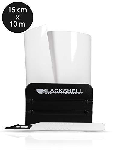 Blackshell® Universal Lackschutzfolie Transparent 15cm x 10m Folie selbstklebend als Auto Folie, Motorrad Folie, Fahrrad Schutzfolie inkl. Profi Rakel für Folie und Skalpell