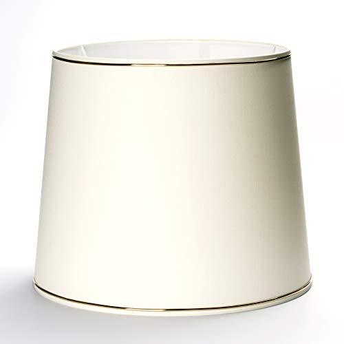 Abat-jour de rechange en tissu crème avec décor bague dorée et support pour douille E27 bord doré beige (34 x 29 cm)