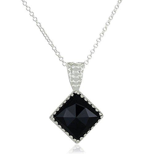 Stera Jewelry 925 Sterling Silver Decorative Diamond Shaped Black Onyx Pendant Necklace, 18' + 4' Extender