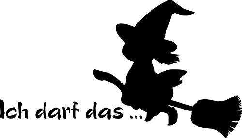KFZ Aufkleber: Hexe mit Besen 'Ich darf das.' Spaß, witzig, Frauen, Autoaufkleber // verschiedene Farben und Größen (Schwarz - 180 mm x 100 mm)