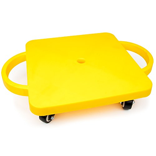 KRoo Sports 115quot Gym Class Super Scooters Sliding Board with NonSkid Casters and Safety Handles Yellow