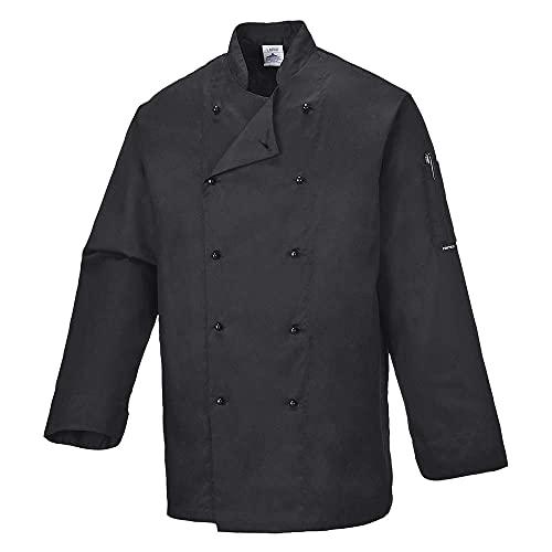 Portwest C834BKRXXL Chaqueta de Chef, Somerset, XXL, Negro (Black)