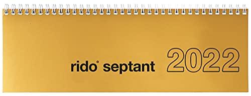 Calendario horizontal de mesa 2022, 30,7 x 10,5 cm, planificador semanal, seis idiomas, con impresión de registro, índice de direcciones y campo de notas, cartón, oro envejecido, impreso en papel FSC
