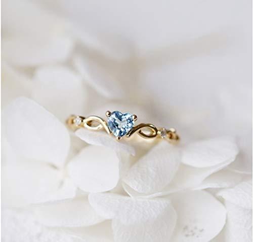 Goldenchen Fashion Jewelry 14k Gold Filled Sea Blue Topaz Love Heart CZ Diamond Ring Women...