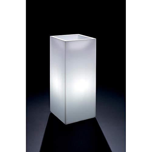 Veca verlichte bloempot rechthoekig 'Cosmos' - hoogwaardige verlichte bloemenbak - wit - 85 cm hoog x 40 cm diameter - met spaarlamp E27, 11 Watt