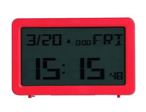LXYZ LCD-Standuhr LCD-Standuhr, mit Alarmsolarenergie Englische Standuhr, rot