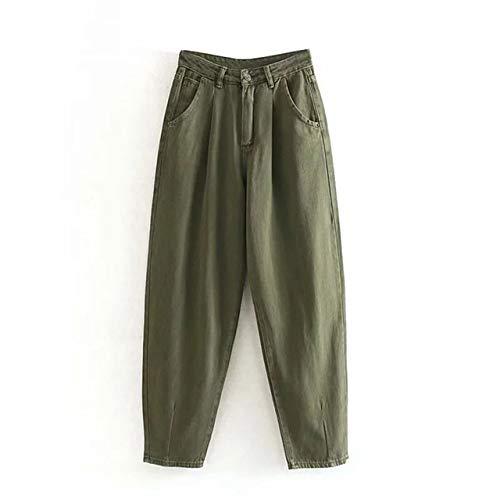 NOBRAND Damen Streetwear Plissee Mom Jeans Hohe Taille Lose Slouchy Jeans Taschen Boyfriend Pants Casual Damen Denim Hosen | Jeans Gr. XS, armee-grün