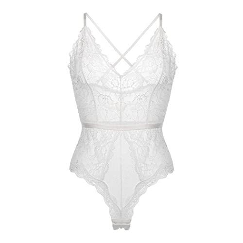 Kobiety Sexy Body Przezroczyste Koronkowe Pasek Bielizna V-neck Przezroczysta Siec Biala Sukienka Letnia 2xl