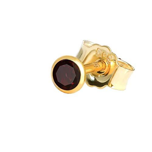 NKlaus Einzel Ohrstecker echt Granat 585 Gelbgold 14 Karat Gold 3mm kleine Ohrring hell 7931