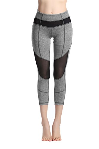 Lotus Instyle Frauen Yoga Leggings 3/4 Laenge Hose Athletische Hose mit Mesh (S, Grey2)