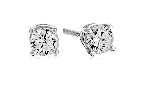 Amazon Collection AGS Certified 14k White Gold Diamond with Screw Back and Post Stud Earrings (1/2cttw, J-K Color, I1-I2 Clarity)