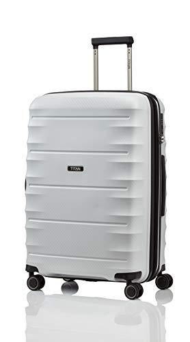 TITAN 4-Rad Koffer Größe M erweiterbar mit TSA Schloss, Gepäck Serie HIGHLIGHT: Leichte Hartschalen Trolleys im Carbon Look, 842405-33, 67 cm, 73 Liter (erweiterbar auf 79 L), off-white (weiß)