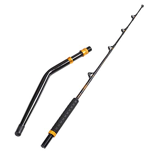Fiblink Bent Butt Fishing Rod 2-Piece Saltwater Offshore Trolling Rod Big Game Roller Rod Conventional Boat Fishing Pole (Length: 5')
