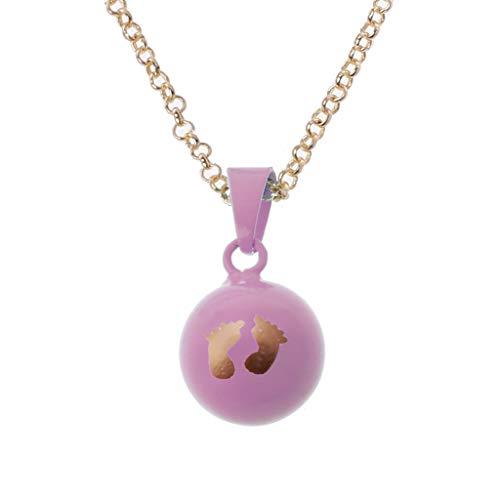 Jingmeizi - Collar con colgante de bola con diseño de huellas de bebé, cadena de 81 cm de largo, para madre y bebé