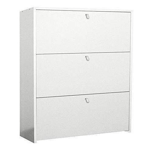 Valentini Eco - Zapatero con 3 Compartimentos, Madera, Blanco, 22 x 67 x 109 cm