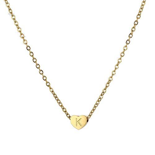 HORHEAR Mini Collar Colgante de Acero Inoxidable en Forma de Corazón Chapado en Oro de 18 Quilates 26…