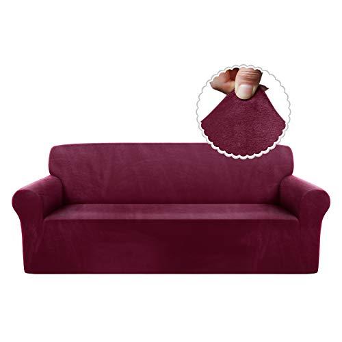 TAOCOCO Funda de sofá Funda de sofá de Terciopelo Mantas de sofá Funda de sofá elástica Fundas de sofá para Sala de Estar (Rojo, 3 Plazas)